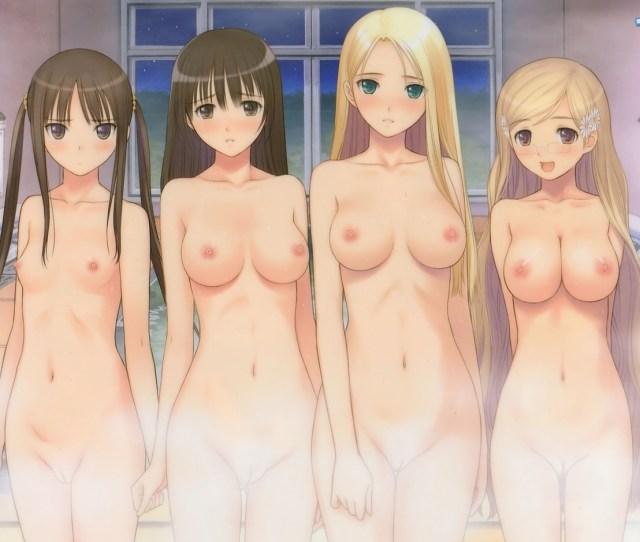 Blonde_hair Breasts Brown_eyes Brown_hair Fault Glasses Group Long_hair Navel Nipples Nude Pussy Taka_tony Uncensored