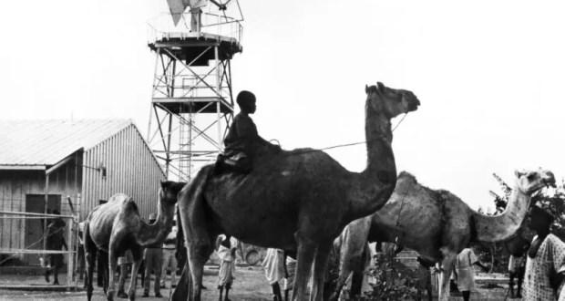 À Kano, au Nigéria, un garçon monte un chameau devant la station spatiale de la NASA, l'une des 18 stations spatiales du projet Mercury, placées de manière stratégique le long de la trajectoire orbitale de la terre. Les stations faisaient partie d'un vaste réseau de communication au niveau mondial nécessaire pour suivre les engins spatiaux et relayer les informations au centre de contrôle de Mercury de Cape Canaveral, en Floride, aux États-Unis. Image publiée par la NASA le 21 mai 1962.