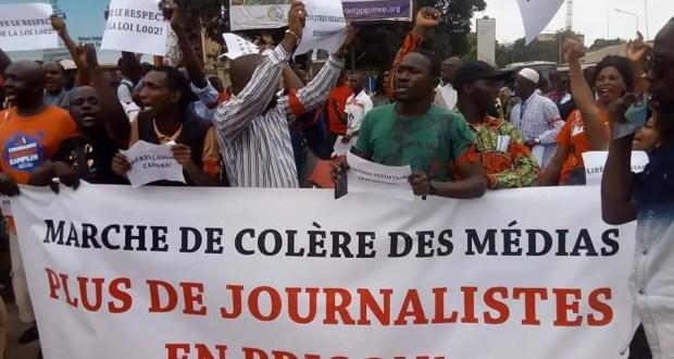 Une manifestation des journalistes guinéens en colère. Source: guineerealite.info