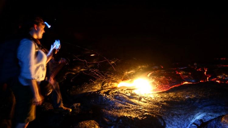 Guests Poking Lava With a Stick / KonaNature.com / 1-844-566-2628