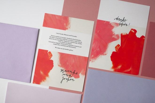 Hochzeitspapeterie Set mit Einladungen, Dankeskarten, Tischkarten, Speisekarten und Platzkarten von konfettirausch