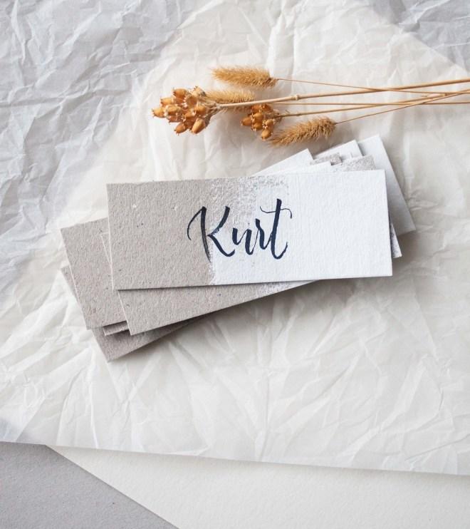 Schöne Namenskärtchen für die moderne Hochzeit