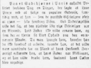 Et uddrag fra Dagbladet København, d. 21. juni 1892, hvori der beskrives anholdelsen af en parisisk visesælger