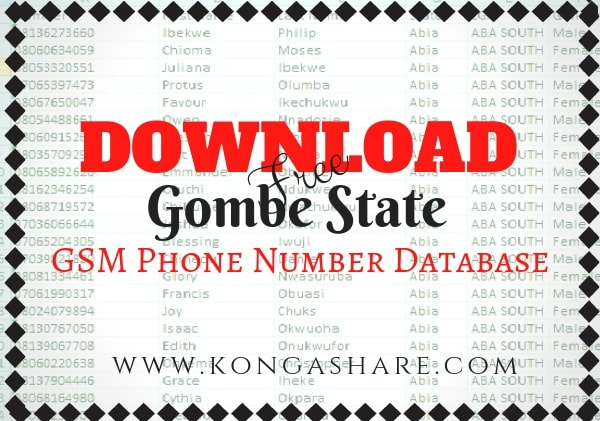 Download Free Gombe State GSM Phone Number Database kongashare.com..m-min