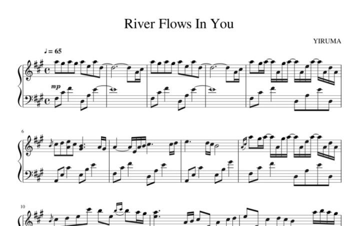 River flows in you sheet music (Yiruma music score) in PDF and MP3