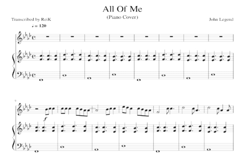 All Of Me piano sheet music-John Legend music score_kongashare.com_m