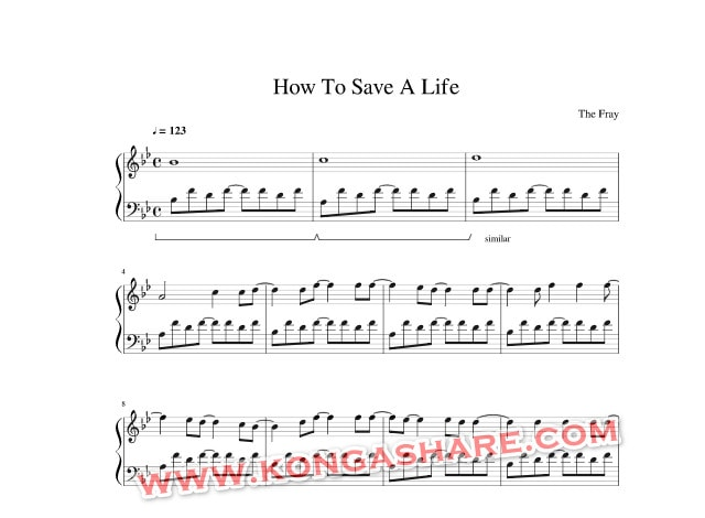 How to save a life piano sheet music_kongashare.com_mmn