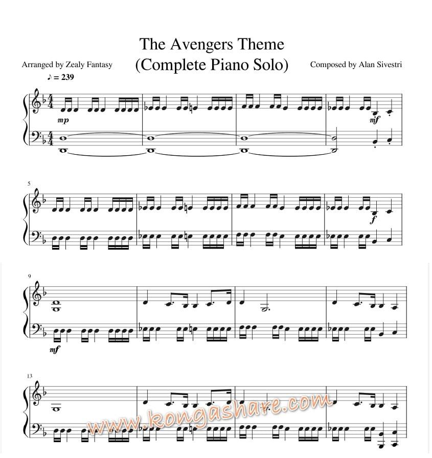 Avengers Theme sheet music (Alan Silvestri music score) in PDF and MP3
