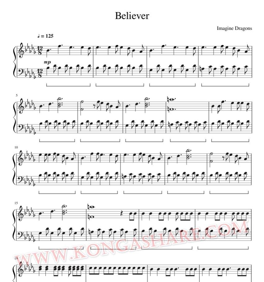 Imagine Dragons - Believer music sheet_kongashare.com_mb