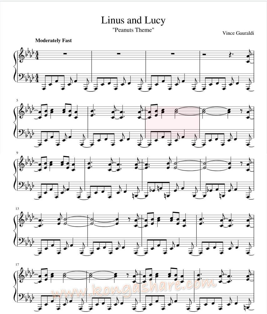 Linus and Lucy sheet music - Peanuts Theme_kongashare.com_mmn-mnn