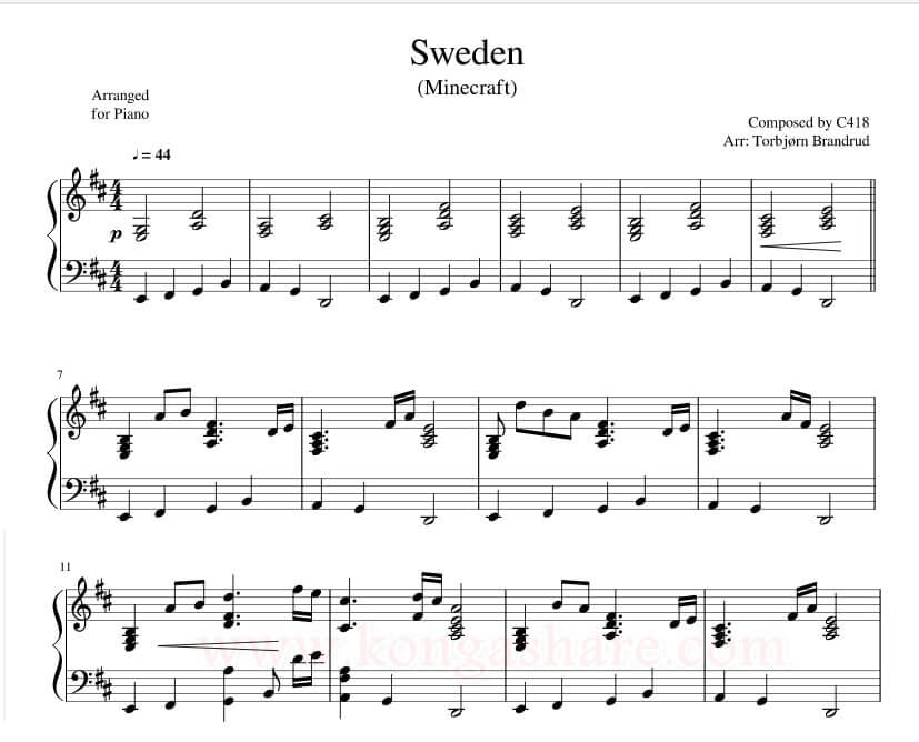 Minecraft Sweden Sheet Music Music Score For Piano In Pdf