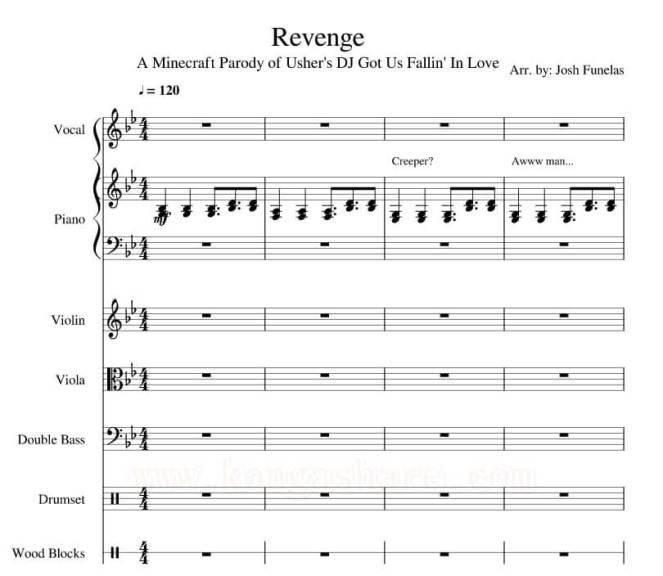 Revenge Minecraft Lyrics with Sheet Music in PDF & MP3-kongashare.com_mm-m