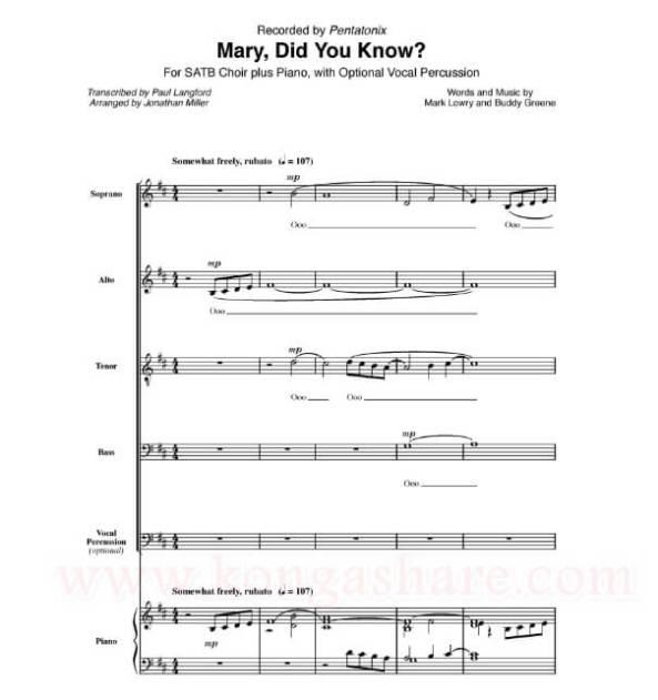Mary Did You Know sheet music_Buddy Greene_kongashare.com_mn