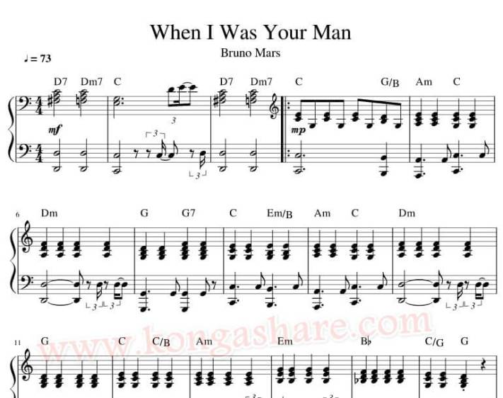 When I Was Your Man piano sheet music_kongashare.com_mv