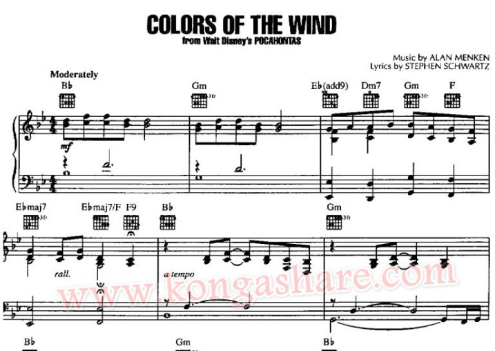 colors of the wind piano sheet music_kongashare.com_m
