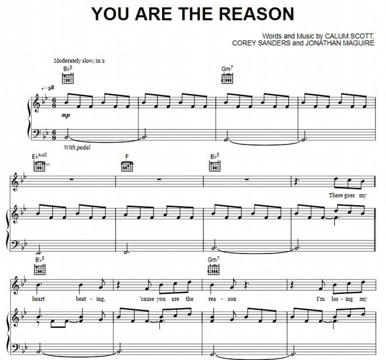 You Are The Reason sheet music with lyrics_kongashare.com_ma