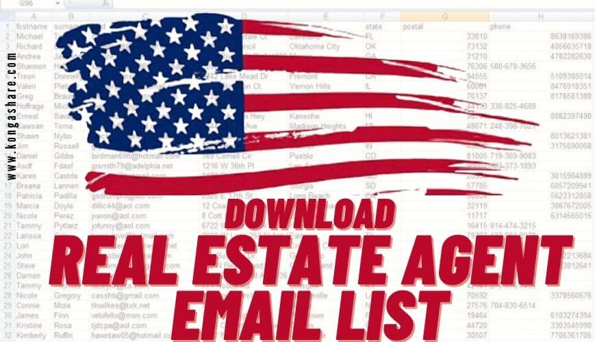 Free Real Estate Agent Email List - Realtor Email Database List