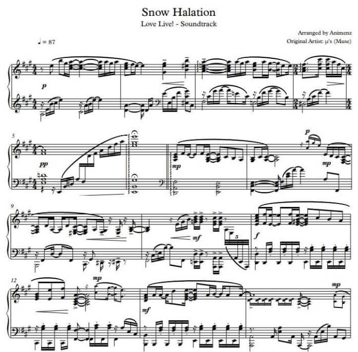 Snow Halation Piano sheet music pdf midi