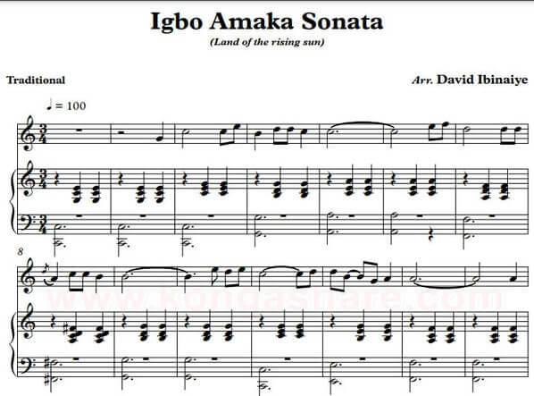 Igbo Amaka Sonata - Nigeria sheet music in PDF & MP3
