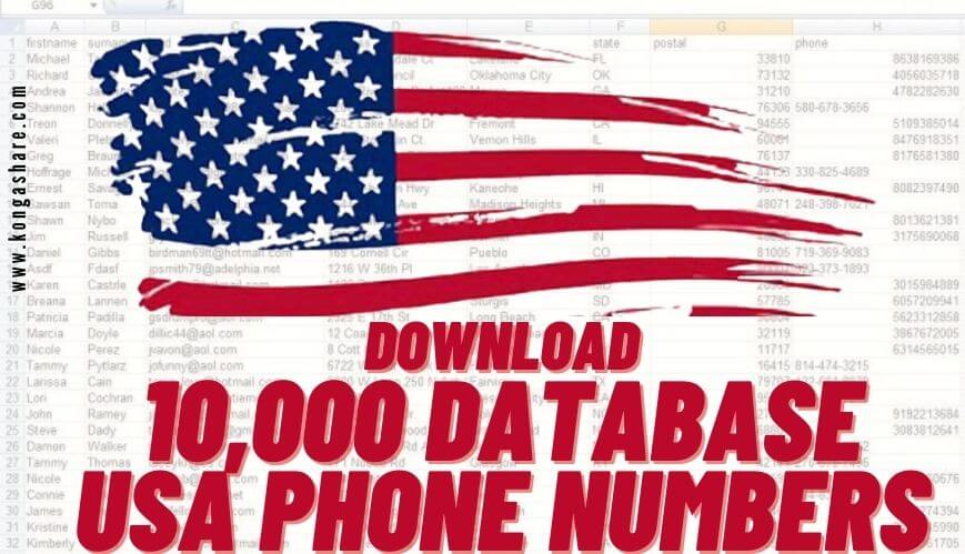 download database usa phone number list with email 2021