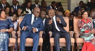"Fatshi, President de la RDC et ""Joseph Kabila"", president honoraire, en 2019 a Kinshasa."