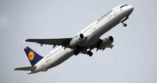 Lufthansa plane taking off.