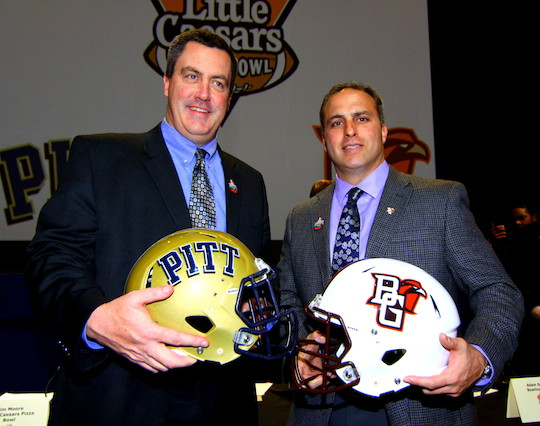 Coach Paul Chryst of Pitt and Adam Scheier  of Bowling Green State University will take their charges to Ford Field in Detroit for the Little Caesars Pizza Bowl on Boxing Day, December 26, 2013 at 6:00 p.m. EST.   Photo by Dan Bachorik, Rolco Sports Network