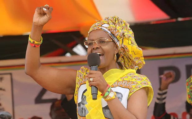Zimbabwe's First Lady Grace Mugabe addresses party supporters at a rally in Harare
