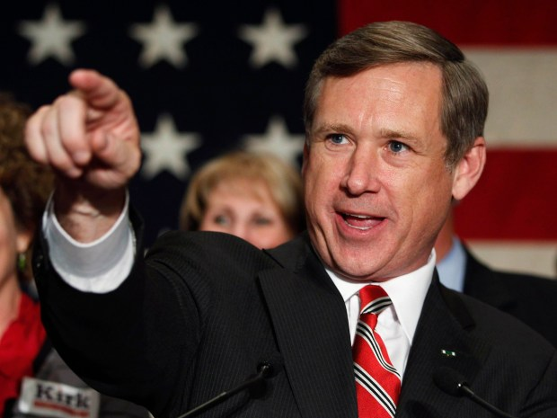Image: Republican U.S. Senate candidate Mark Kirk of Illinois celebrates at election night rally in Wheeling