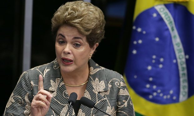 Brazil's president, Dilma Rousseff,  testifying at her own impeachment trial, in Brasília, Monday1