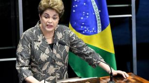 Brazil's president, Dilma Rousseff, testifying at her own impeachment trial, in Brasília, Monday3