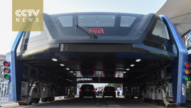 China's elevated road bus13