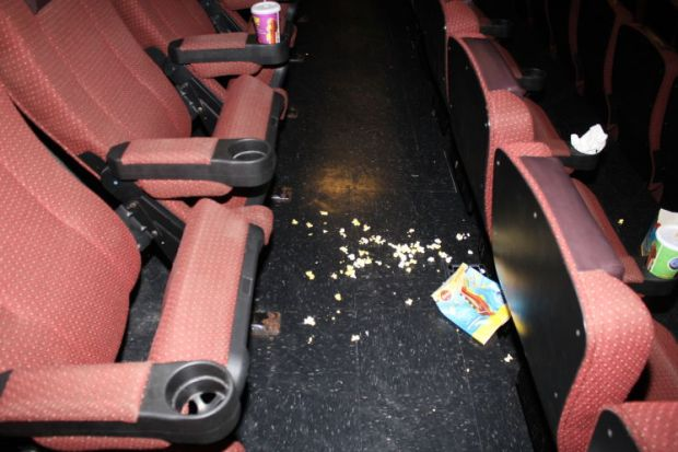 Popcorn that spilled on the Cobb 16 theater floor during the confrontation1.jpg
