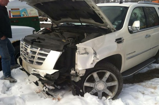 Crystal Bassette, truck after her auto accident