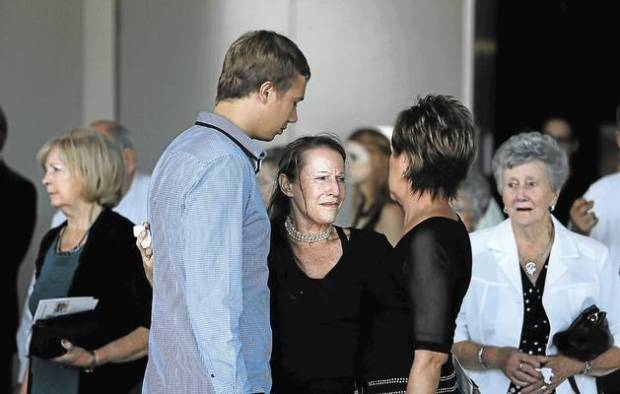Narita du Toit, sister of the murdered Teresa van Breda, with friends and family after yesterday's memorial service