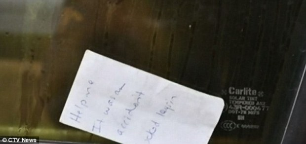 Police found a handwritten note by Coward on the truck's front window that reads: 'Help me. It was an accident. Locked keys in'