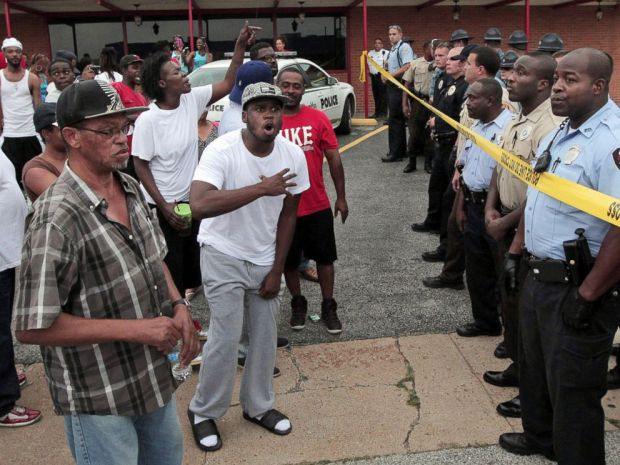 Protesters in ferguson Mo., after the Micheal Brown shooting