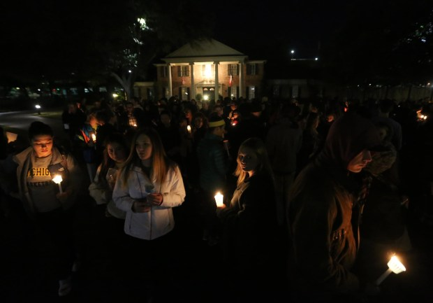 Baylor students held a candlelight vigil outside Chancellor Starr_s home in February, 2016 over the school_s handling of a string of sexual assaults