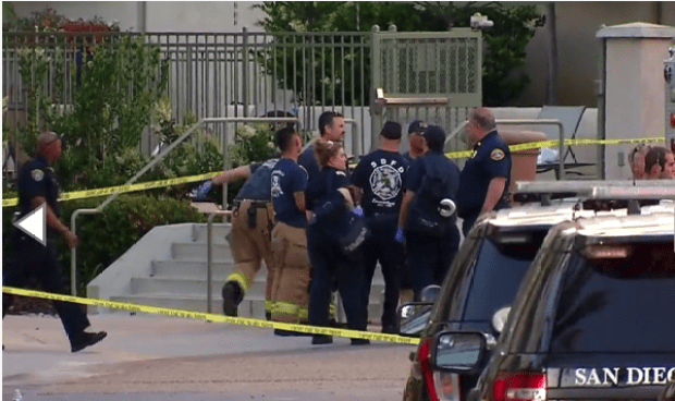 First responders work the crime scene after gunman shot seven peolple at poolside party in San Diego.png
