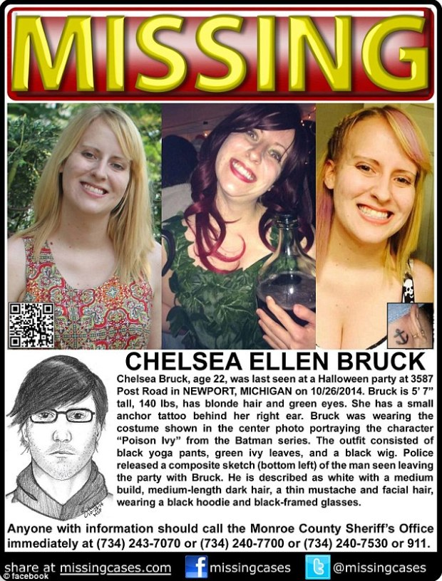 Missing person flyer for Chelsea Brock