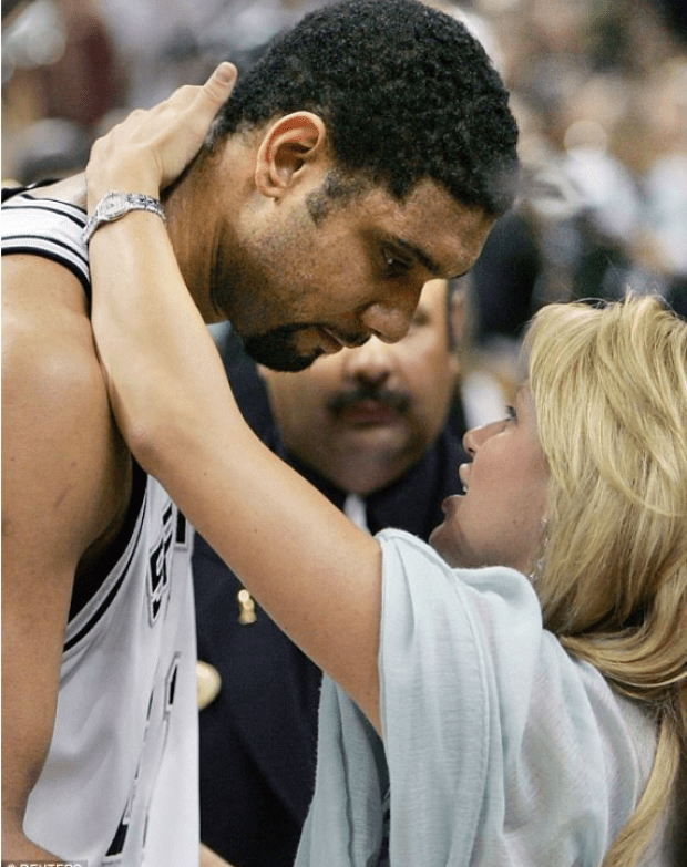 Tim Duncan and his ex-wife, AmySherrill, in 2005