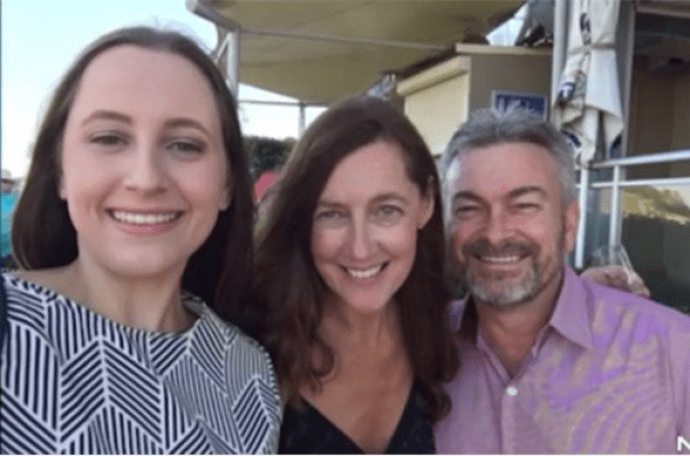 Karen Ristevski (middle), pictured with her husband Borce and daughter Sarah 2