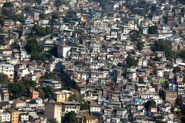 A cluster of homes in a favela in Brazil