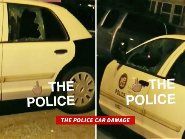 Danaged police cars in Zach randolph arrest.jpg