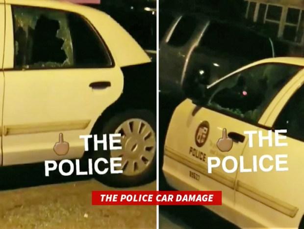 Danaged police cars in Zach randolph arrest.jpg