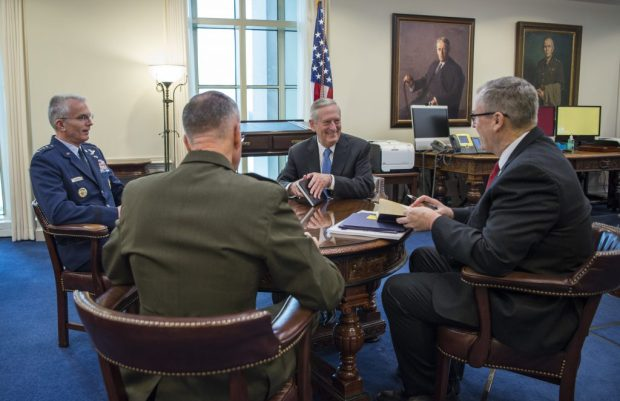 "Defense Secretary Jim Mattis at his ""Top 4"" roundtable with Deputy Defense Sec Bob Work, Gen. Joseph Dunford, Chairman of the Joint Chiefs of Staff, and Gen. Paul Selva, Vice CJCS .jpg"