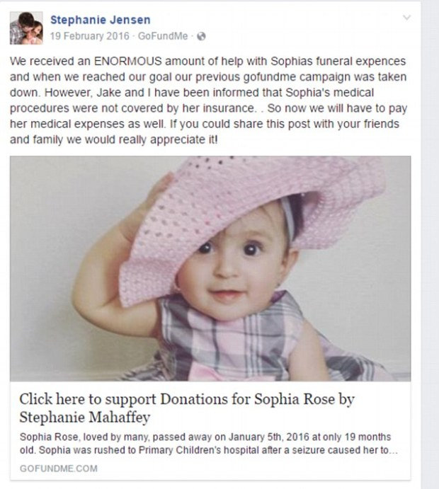 GoFundMe campaigns to pay for Sophia's funeral costs and medical bills 2