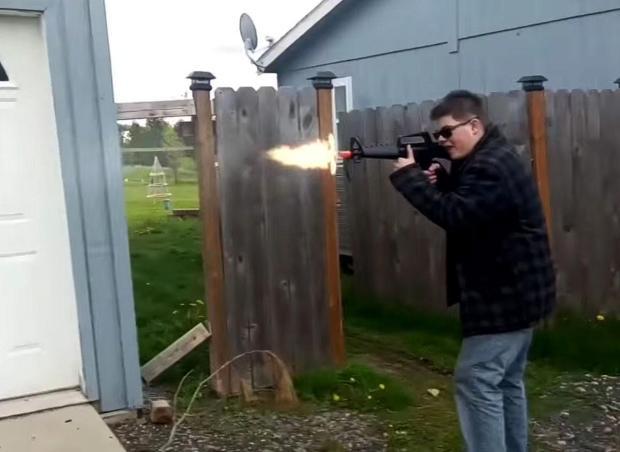 Caleb filmed himself practicing shooting in his back yard 1