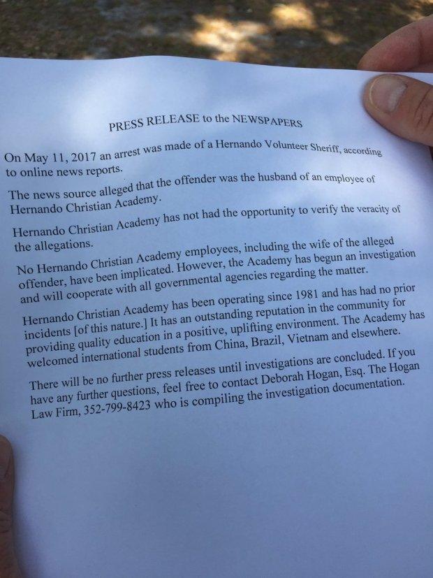 Statement by Hernando Christian Academy in Brooksville, Fla,