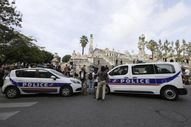 Police activty outside the Marseille railway station Oct 1.